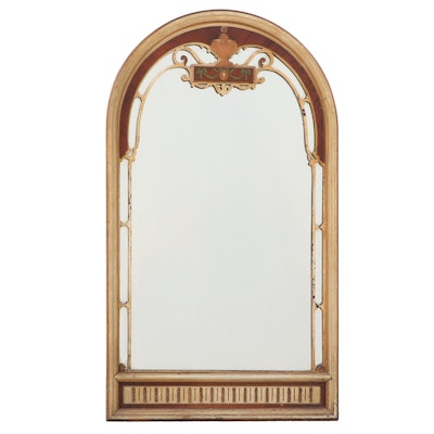 Gilt Wood and Paint-Decorated Arched Wall Mirror