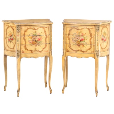 Pair of Louis XV Style Paint-Decorated Three-Drawer Petite Commodes