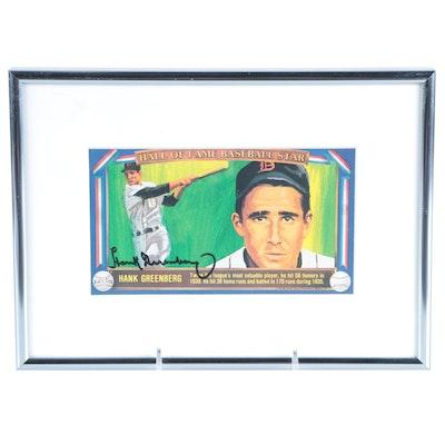 "1983 Hank Greenberg Signed Davco Publishers ""Hall of Fame Baseball Star"" Print"