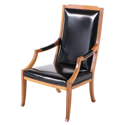 Federal Style Pecan and Black Vinyl Armchair, Mid-20th Century