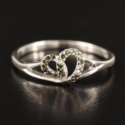 Sterling Silver Diamond Heart Ring