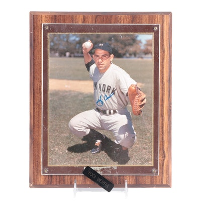 Yogi Berra Signed New York Yankees Hall of Fame Catcher Photo Plaque