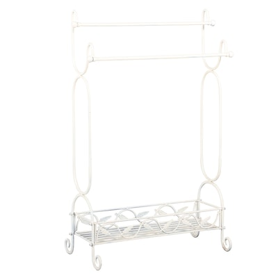 White-Painted and Foliate-Decorated Iron Towel Rack