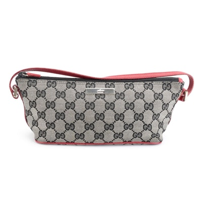 Gucci Boat Pochette Shoulder Bag in GG Canvas with Red Leather