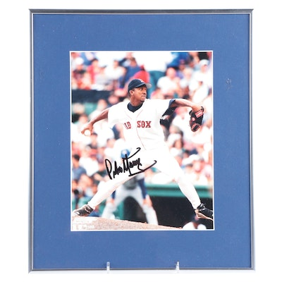 Pedro Martinez Hall of Fame Pitcher Signed Boston Red Sox Framed Photo Print