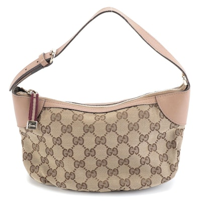 Gucci Pochette in GG Canvas with Beige Leather