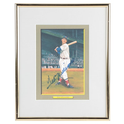 Ted Williams Signed Perez Steele Boston Red Sox Hall of Fame Framed Postcard