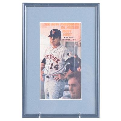 1969 Gil Hodges Signed New York Mets Manager Framed Magazine Print