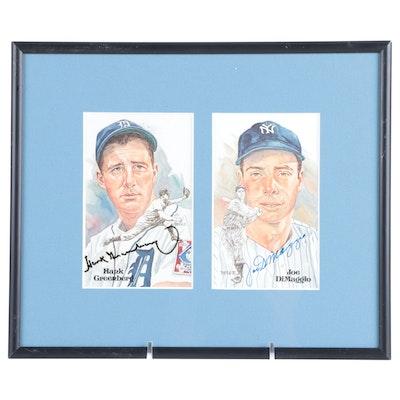 Hank Greenberg and Joe DiMaggio Signed Perez Steele Hall of Fame Postcards