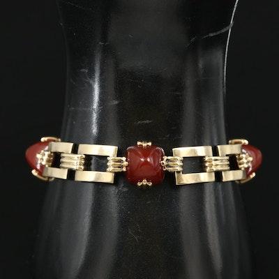 Art Deco 14K Carnelian Rectangular Link Bracelet