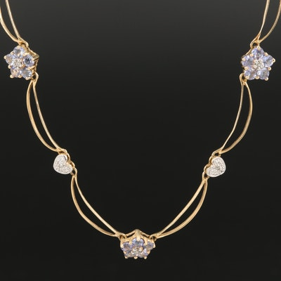 14K Tanzanite and Diamond Star and Flower Station Necklace