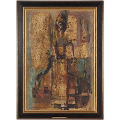 "Lou Zansky Oil Painting ""The Soapbox,"" 1963"