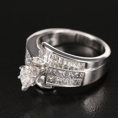10K 2.35 CTW Diamond Ring with Marquise Cut Diamond