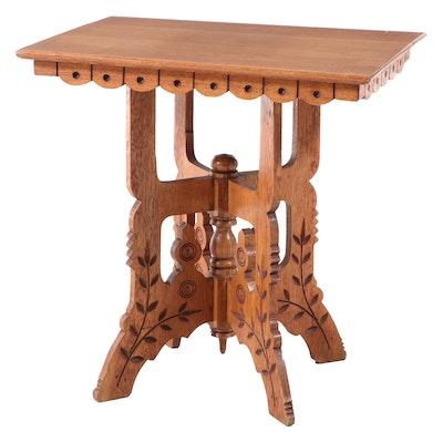 Eastlake Style Carved Oak Side Table, circa 1900