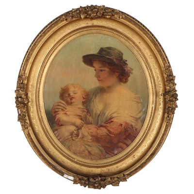 """Chromolithograph After James John Hill """"A Mother with Child,"""" Late 19th Century"""