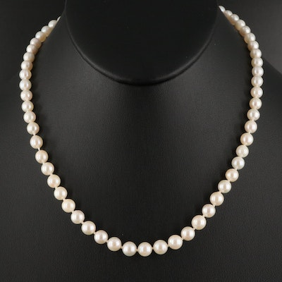 Single Strand Pearl Necklace with 10K Clasp