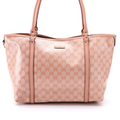 Gucci GG Pink Coated Canvas and Leather Tote