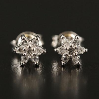 Sterling Zircon Stud Earrings