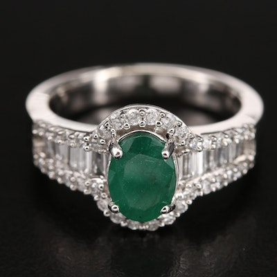 14K Gold 1.11 CT Emerald and Diamond Ring