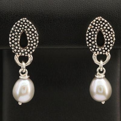 Michael Dawkins Sterling Pearl Drop Earrings