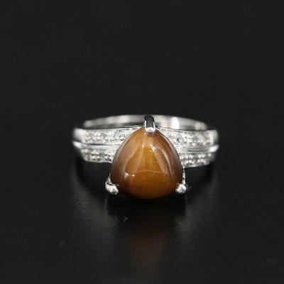 Sterling Tiger's Eye and Topaz Triangular Ring