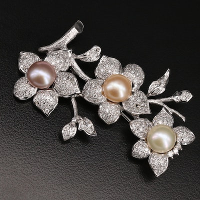 18K Gold Pearl and 3.21 CTW Diamond Floral Branch Brooch