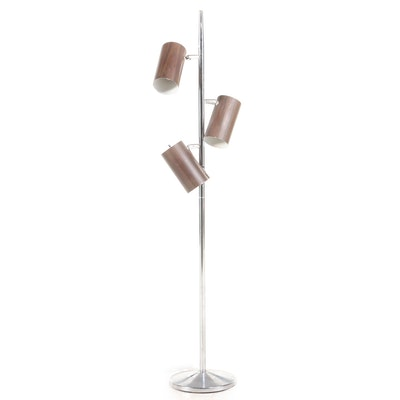 Mid Century Modern Chrome and Faux Bois Canister Three-Light Floor Lamp