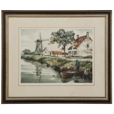 Roger Hebbelinck Hand-Colored Lithograph of Houses on River