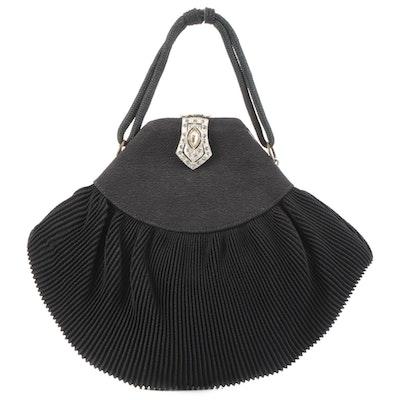 Plissé Silk Evening Bag with Rhinestone Clasp