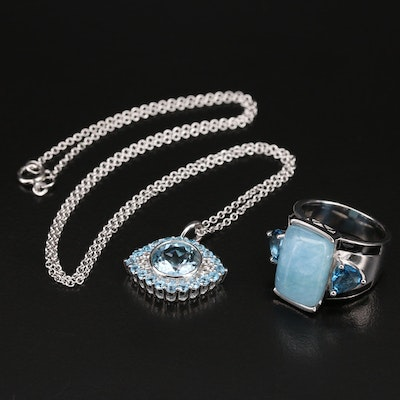 Sterling Ring and Evil Eye Necklace with London and Sky Blue Topaz