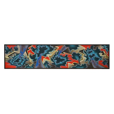 """Dan Boldman Large-Scale Abstract Oil Painting """"Frenzy III,"""" Late 20th Century"""