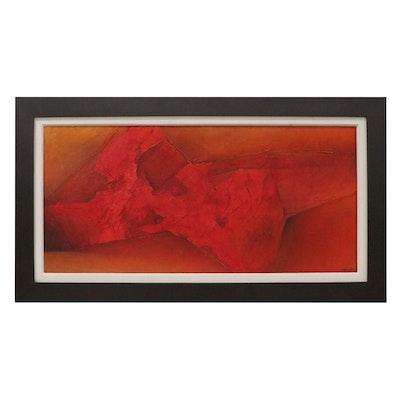 Gustavo Valenzuela Non-Objective Impasto Oil Painting, Late 20th Century
