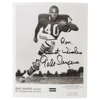 """Gale Sayers Signed """"Best Wishes"""" Chicago Bears Hall of Fame Player Photo Print"""