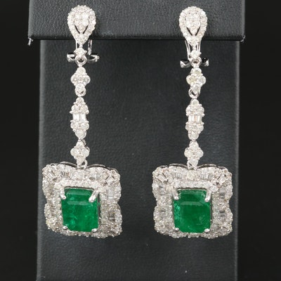 14K 8.68 CTW Emerald and 4.70 CTW Diamond Earrings