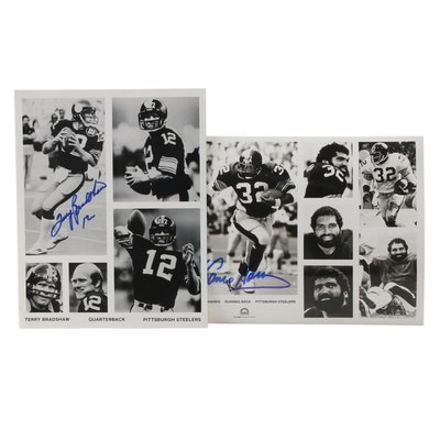 Terry Bradshaw and Franco Harris Signed Pittsburgh Steelers NFL Photo Prints