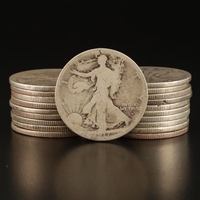 Key Date 1917-S (Obverse) and Nineteen Walking Liberty Silver Half Dollars