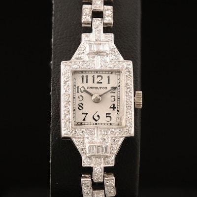 Hamilton Platinum and 1.18 CTW Diamond Wristwatch