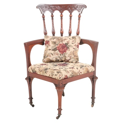 Late Victorian Mahogany Upholstered Corner Armchair, Early 20th Century