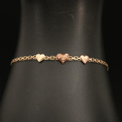 14K Bismark Chain Bracelet with Rose Gold Heart Accents