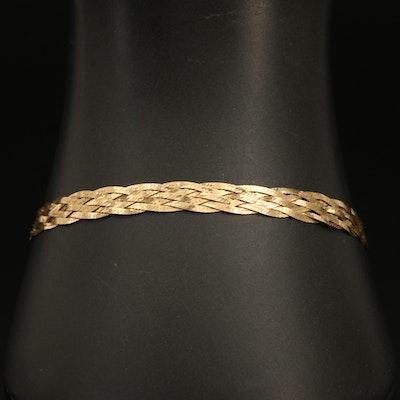 18K Gold Braided Herringbone Bracelet