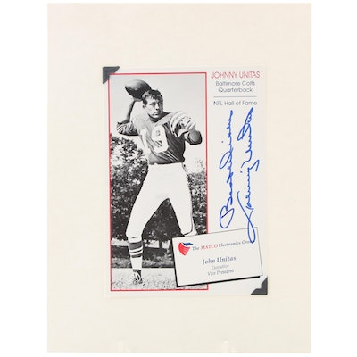 """Johnny Unitas Signed """"Best Wishes"""" Baltimore Colts Hall of Fame Photo Print"""