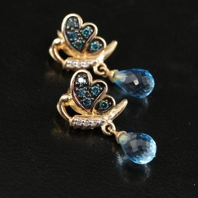 14K Swiss Blue Topaz and Diamond Butterfly Earrings