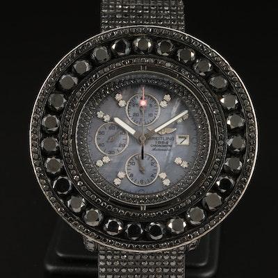 Custom Breitling Super Avenger XL 48.00 CTW Black Diamond Automatic Wristwatch