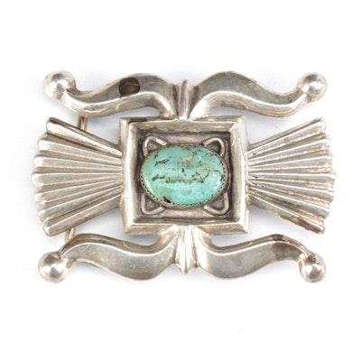 Sandcast Sterling Silver and Turquoise Native American Style Belt Buckle
