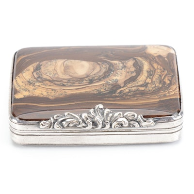 Jasper and Sterling Silver Pill Case