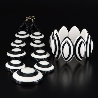 French Marion Godart Horn Black and White Station Necklace and Navette Bracelet