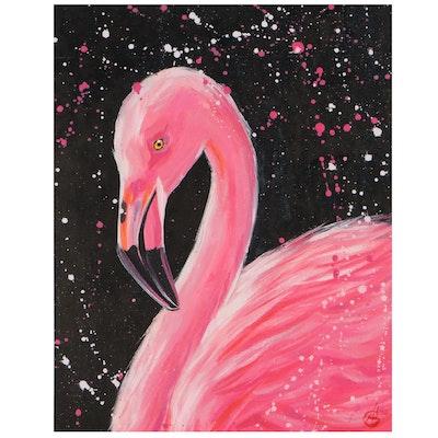 Alyona Glushchenko Oil Painting of Flamingo, 2021