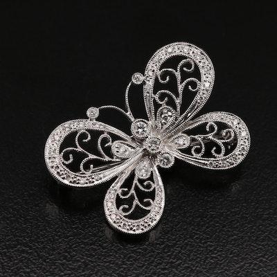 14K 0.30 CTW Diamond Butterfly Brooch