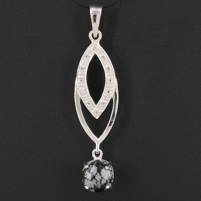 Sterling Silver Topaz and Snowflake Obsidian Drop Pendant