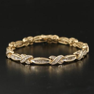 14K 2.48 CTW Diamond Crossover Bracelet